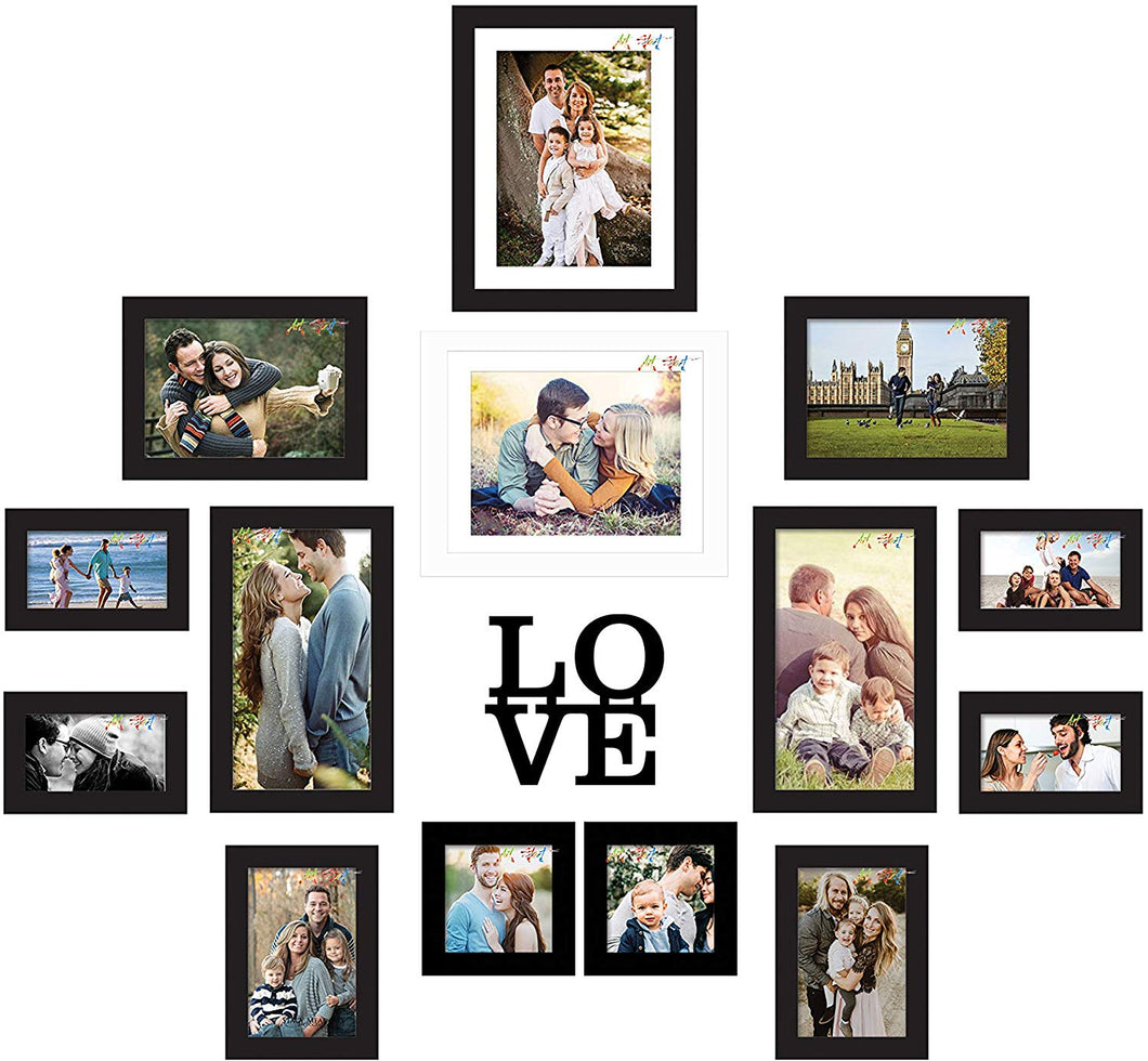 Individual Black & White Wall Photo Frame Set Whit Love MDF Plaque
