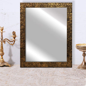 Lavaliere Fiber Wood Wall Mirror Inner Size 12 x 18 inch, Outer Size 15 x 21 inch -Antique Copper