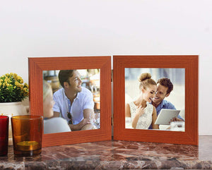 MDF Brown Twin Connected Table Photo Frame Set For Home Decor