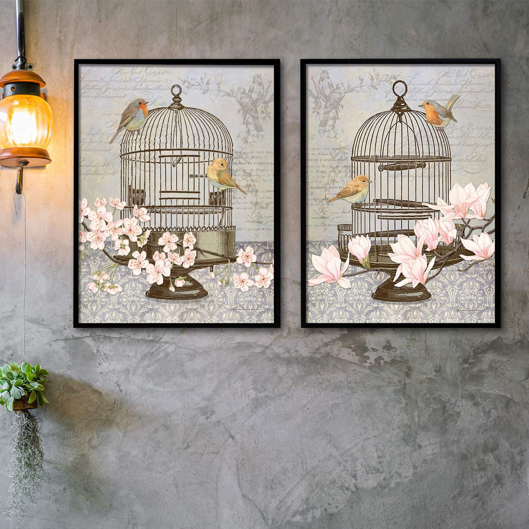 Floral Bird Theme Set of 2 Framed Canvas