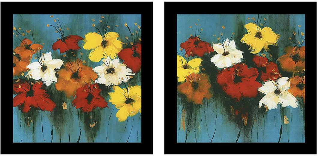 Floral Theme Framed Printed Set of 2 Wall Art Print -12 X 12 Inchs