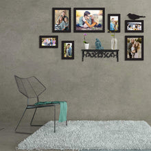Load image into Gallery viewer, 7 Black Wall Photo Frames With 1 Bird And 1 Shelf MDF Plaque