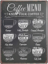 Load image into Gallery viewer, Coffee MENU Retro Metal Tin Signs