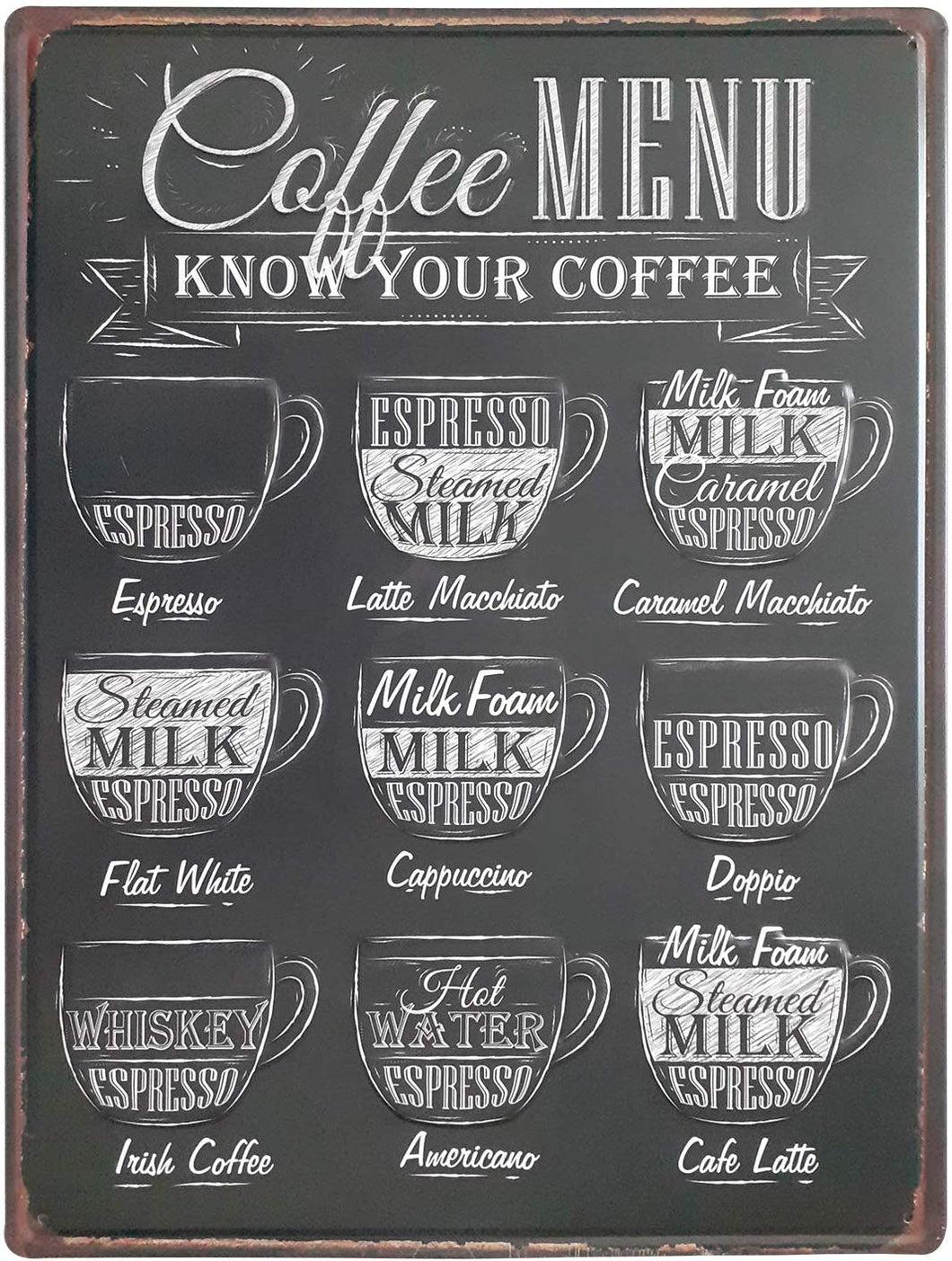 Coffee MENU Retro Metal Tin Signs