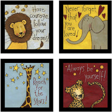Load image into Gallery viewer, Cute Animal Cartoon Theme with Motivational Quotes Framed Printed Set of 4 Wall Art Print -8 X 8 Inchs