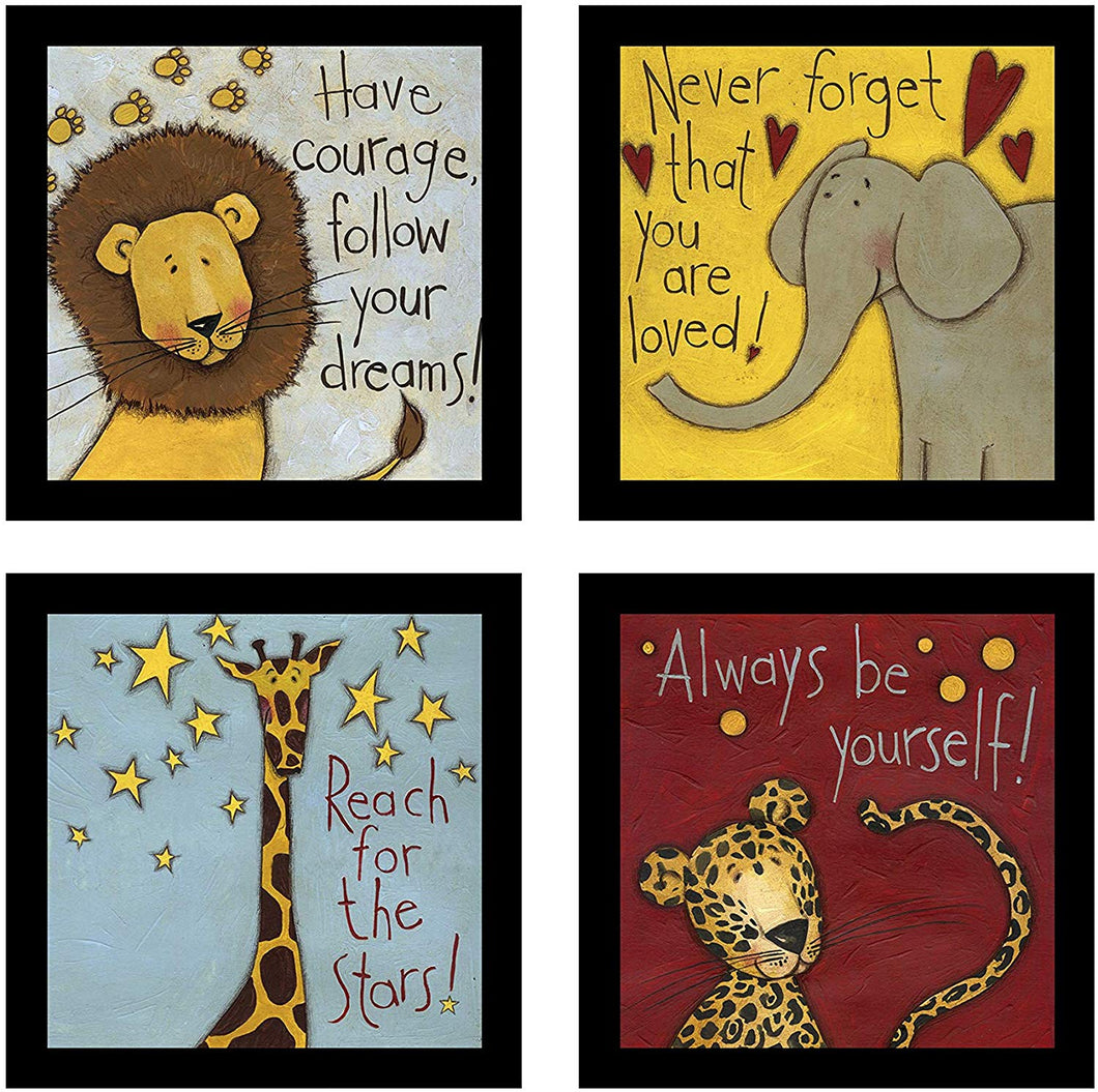 Cute Animal Cartoon Theme with Motivational Quotes Framed Printed Set of 4 Wall Art Print -8 X 8 Inchs