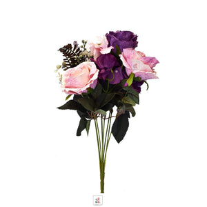 Artificial 9 Head Red And Purple & Peach Rose Flowers With Stem.