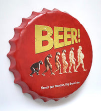 Load image into Gallery viewer, Beer Embossed Bottle Cap Tin Metal Sign - Honour Your Ancestors