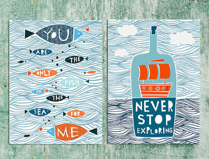 Aqua Theme Motivational Quote 2 Poster Set # Never Stop Exploring
