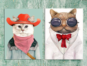 Animal Theme  Cat & Dog 2 Poster Set For Kids Room