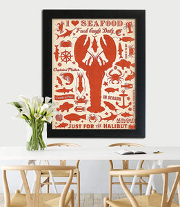 Holiday Theme Motivational Quote Poster With Frame # I Love Sea Food
