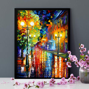 Beautiful Rainy Street Theme 1 Framed Canvas