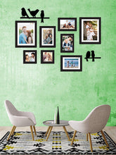 Load image into Gallery viewer, 8 Individual Black Wall Photo Frames With Love-Bird's Design MDF Plaque