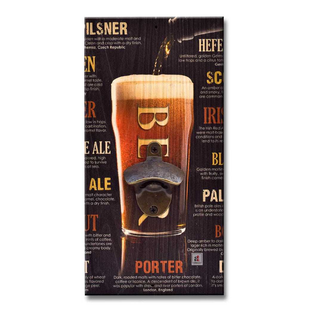 Art Street Beer Porter Wall Mounted Wooden Beer Bottle Opener For Bar, Home, Can Opener Creative Bar & Home Wall Decor