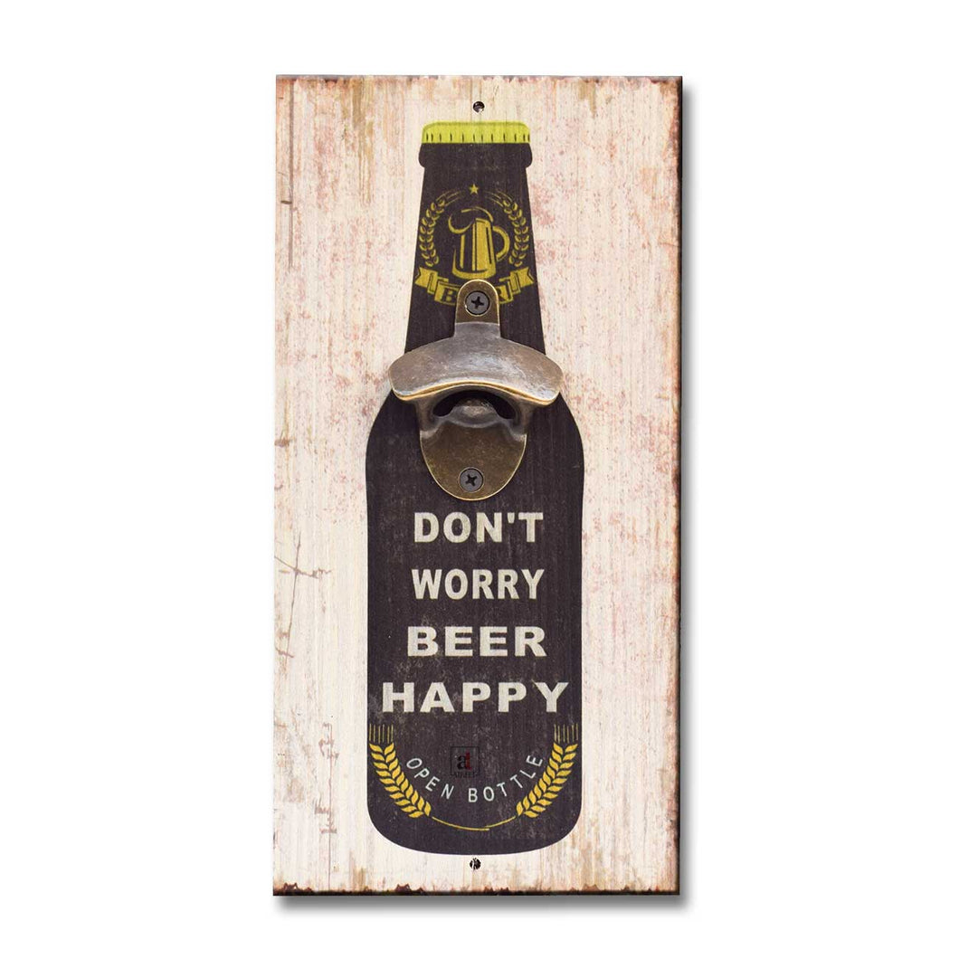 Art Street Don't Worry Beer Happy Wall Mounted Wooden Beer Bottle Opener For Bar,Home, Can Opener Creative Bar & Home Wall Decor