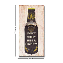 Load image into Gallery viewer, Art Street Don't Worry Beer Happy Wall Mounted Wooden Beer Bottle Opener For Bar,Home, Can Opener Creative Bar & Home Wall Decor