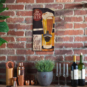 Art Street Ice Cold Beer Wall Mounted Wooden Beer Bottle Opener for Bar, Home, Can Opener Creative Bar & Home Wall Decor