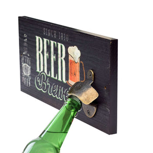 Art Street Vintage Style Wooden Beer Bottle Opener Creative Bar & Home Wall Decor