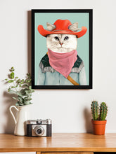 Load image into Gallery viewer, Beautiful Cat Cartoon Theme Framed Art Print, For Wall Decor Size - 13.5 x 17.5 Inch