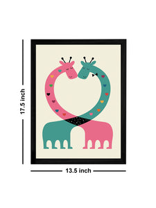 Beautiful Animal Cartoon Theme Framed Art Print, For Wall Decor Size - 13.5 x 17.5 Inch