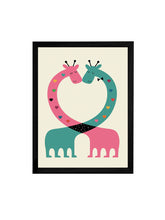 Load image into Gallery viewer, Beautiful Animal Cartoon Theme Framed Art Print, For Wall Decor Size - 13.5 x 17.5 Inch