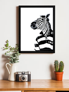 Zebra Cartoon Theme Framed Art Print, For Home & Office Decor Size - 13.5 x 17.5 Inch