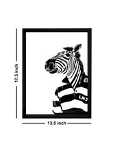 Load image into Gallery viewer, Zebra Cartoon Theme Framed Art Print, For Home & Office Decor Size - 13.5 x 17.5 Inch