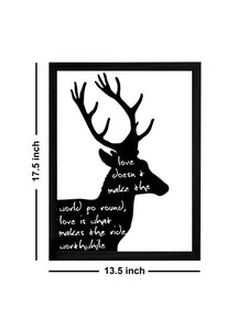 Beautiful Swamp Deer (Barasingha) Theme Framed Art Print, For Wall Decor Size - 13.5 x 17.5 Inch