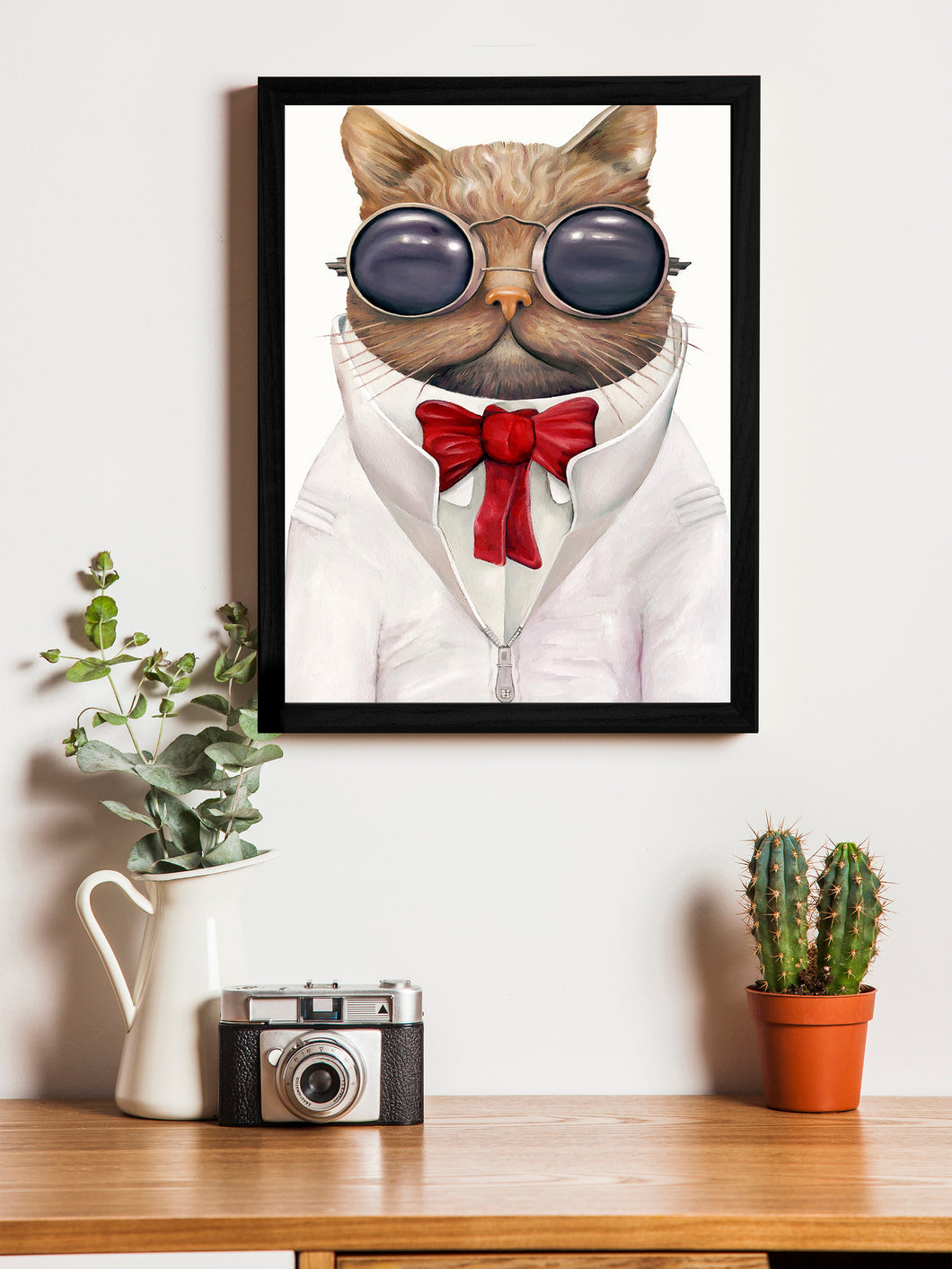 Beautiful Cartoon Cat Theme Framed Art Print, For Wall Decor Size - 13.5 x 17.5 Inch