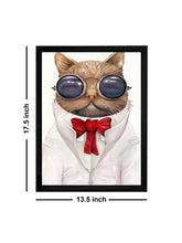 Load image into Gallery viewer, Beautiful Cartoon Cat Theme Framed Art Print, For Wall Decor Size - 13.5 x 17.5 Inch