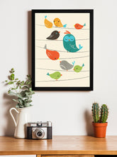 Load image into Gallery viewer, Beautiful Cartoon Birds Theme Framed Art Print, For Wall Decor Size - 13.5 x 17.5 Inch