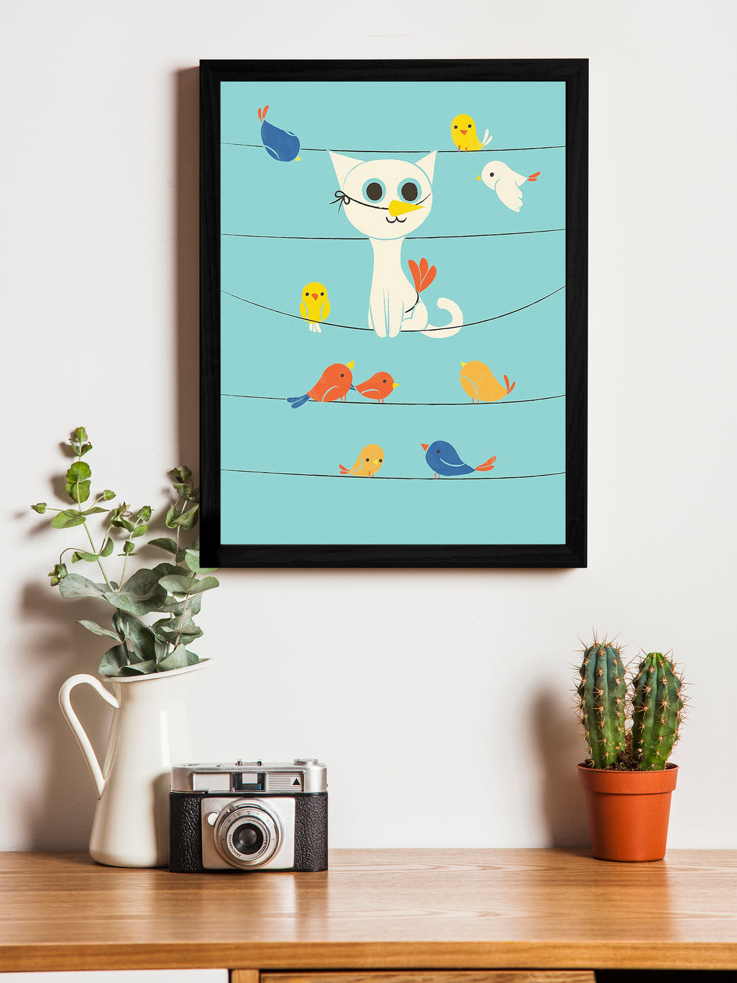 Beautiful Cartoon Cat With Birds Theme Framed Art Print, For Wall Decor Size - 13.5 x 17.5 Inch