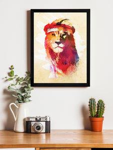 Beautiful Lion Theme Framed Art Print, For Wall Decor Size - 13.5 x 17.5 Inch