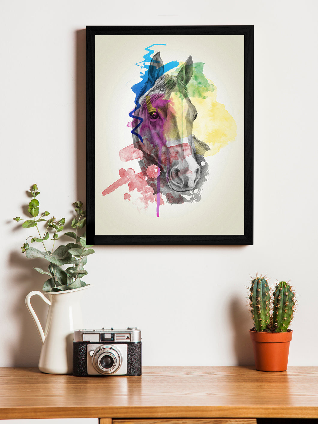Beautiful Horse Theme Framed Art Print, For Wall Decor Size - 13.5 x 17.5 Inch