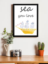 Load image into Gallery viewer, Sea Your Love Theme Framed Art Print, For Wall Decor Size - 13.5 x 17.5 Inch