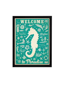 Welcome To Paradise Theme Framed Art Print, For Wall Decor Size - 13.5 x 17.5 Inch