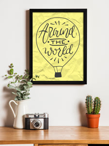 Around The World Theme Framed Art Print, For Home & Office Decor Size - 13.5 x 17.5 Inch