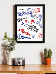 Music Theme Framed Art Print, For Wall Decor Size - 13.5 x 17.5 Inch