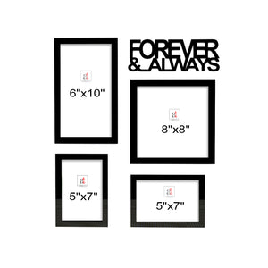 Art Street Always & Forever Valentine Themed Ready to Hang Photo Frames for Home Décor and Wall Art Hanging Accessories Set of 4