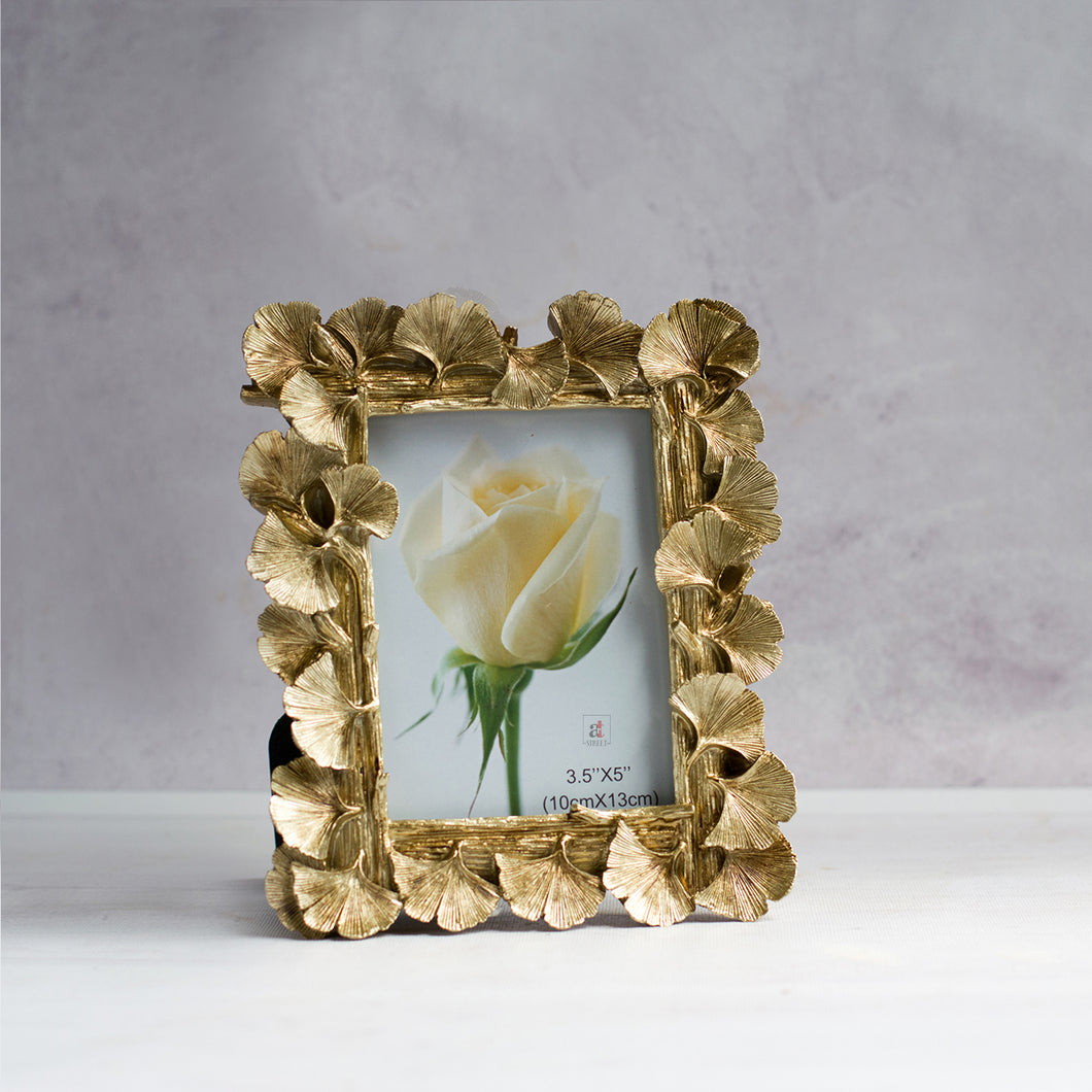 Golden Hibiscus Flower Table Photo Frame For Home Decor