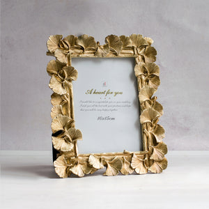 Golden Hibiscus Flower Shape Table Photo Frame For Home Decor
