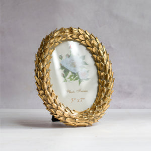 Round Shape Golden Leaves Table Photo Frame For Home Decor