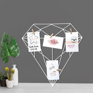 White Color Diamond Shape DIY Metal Photo Grid Wall for Photo Hanging