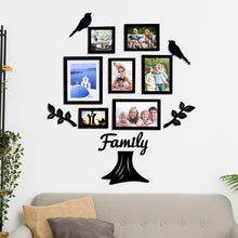 Load image into Gallery viewer, Family Tree Individual Wall Photo Frame With MDF Plaque- (2 Leaf, 1 Trunk, 2 Birds, 1 Family)