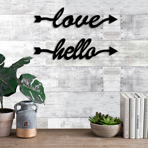 Art Street Love Hello MDF Plaque Painted Cutout Ready to Hang Home Décor, Wall Décor, Wall Art