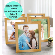 Load image into Gallery viewer, Art Street Pure Wooden Set Of 5 Individual Wall Photo Frame For Home Decor Size - 5 x 7 Inch