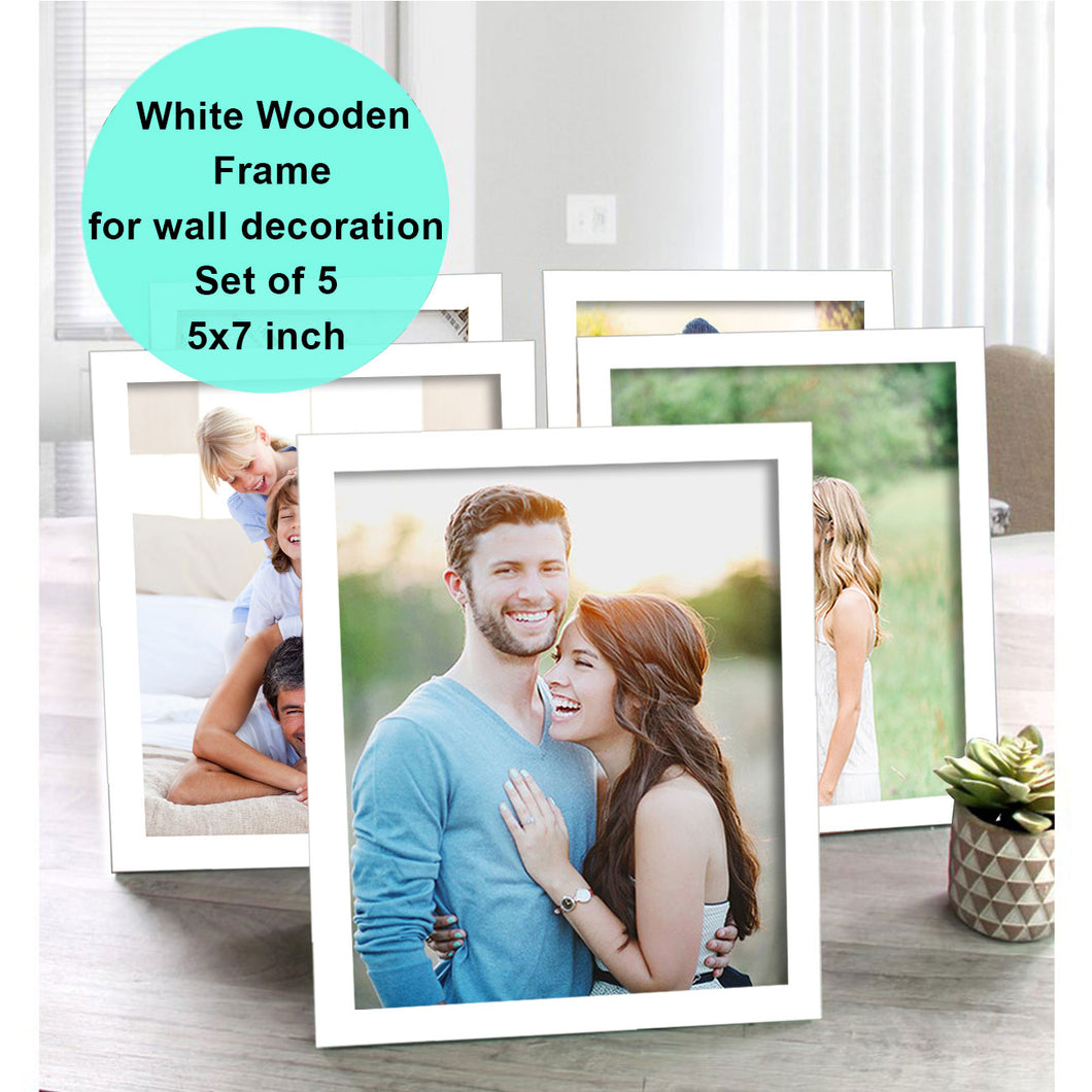 Art Street Pure Wooden Set Of 5 Individual Wall Photo Frame For Home Decor Size - 5 x 7 Inch