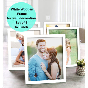 Art Street Pure Wooden Set Of 5 Individual Wall Photo Frame For Home Decor, Size - 6 x 8 Inch