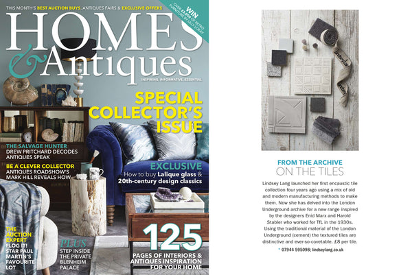 Homes & Antiques magazine - Lindsey Lang tiles feature on 3D chevron tiles for Tfl