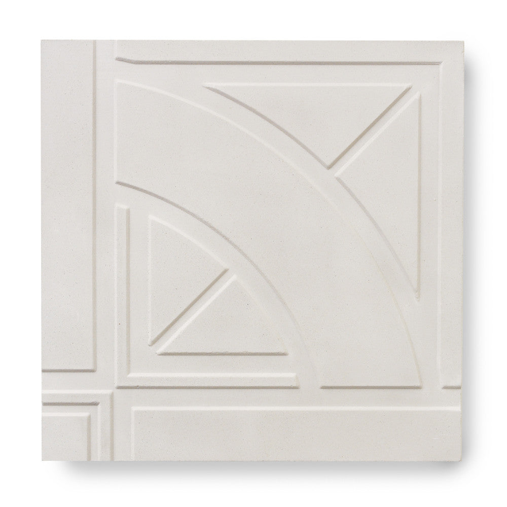 'Quarter Roundel' White - 3D Cement Tile (sample)